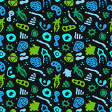 Bacteria seamless pattern. Vector seamless pattern with bacterial, cells, virus and germs. Hand drawn medical background. Vector illustration Royalty Free Stock Photos