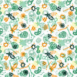 Bacteria seamless pattern. Vector seamless pattern with bacterial, cells, virus and germs. Hand drawn medical background. Vector illustration Royalty Free Illustration
