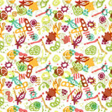Bacteria seamless pattern. Vector seamless pattern with bacterial, cells, virus and germs. Hand drawn medical background. Vector illustration Royalty Free Stock Images