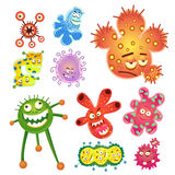 Bacteria and virus cartoon Royalty Free Stock Images