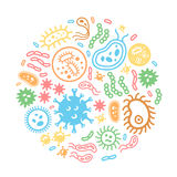 Bacteria and virus on a circular background. Biology, science microbiology, microbe infection illustration colored vector Royalty Free Stock Photography