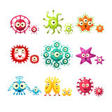 Bacteria And Virus Fun Set Stock Images