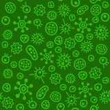Bacteria Virus Microbe. Seamless Pattern. Vector Royalty Free Stock Photo