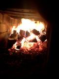 bacterias 最初俄国木头燃烧的火炉 火 库存照片