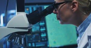 Bacterias de examen del cient?fico con el microscopio foto de archivo libre de regalías