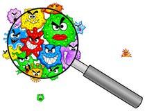 Bacterias debajo de una lupa stock de ilustración