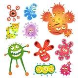 Bacterias e historieta del virus Imágenes de archivo libres de regalías