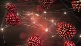 Bacterias en caer libre rodeadas de conexiones de datos ilustración del vector