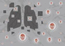 Bacterias está atacando los pulmones ilustración del vector