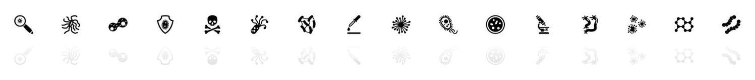 Bacterias - iconos planos del vector Fotos de archivo