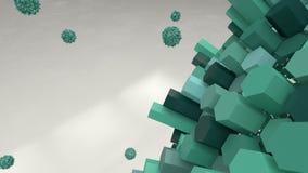 Bacterias verdes del hexágono Extracto 3d rinden wallpaper Foto de archivo