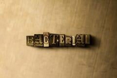 BACTERIEEL - close-up van grungy wijnoogst gezet woord op metaalachtergrond stock foto