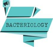 Bacteriología del texto de la escritura de la palabra Concepto del negocio para la rama de la microbiología que se ocupa de las b stock de ilustración
