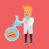 Bacteriologist with Bacteria in Glass Flask Vector Royalty Free Stock Image