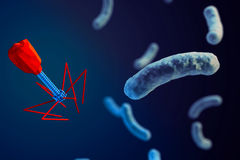 Bacteriophage attacking bacteria Stock Photos