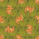 Bactrian верблюды на зеленых листьях Стоковые Фотографии RF