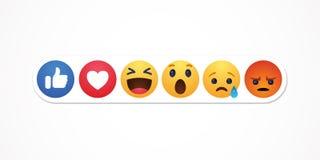 Bacu, Azerbaigian - 23 aprile 2019: Facebook nuovo come i bottoni di reazioni illustrazione vettoriale