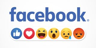Bacu, Azerbaigian - 23 aprile 2019: Facebook nuovo come i bottoni di reazioni illustrazione di stock