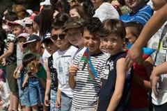 BACU, AZERBAIGIAN - 26 giugno 2018 - parata militare a Bacu, gente azera che celebra 100th anniversario delle forze armate Immagine Stock