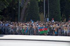 BACU, AZERBAIGIAN - 26 giugno 2018 - parata militare a Bacu, gente azera che celebra 100th anniversario delle forze armate Fotografia Stock