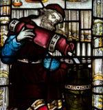 Bad Abbey Perpendicular Gothic Window Close herauf b-Buntglas Lizenzfreies Stockfoto