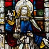Bad Abbey Perpendicular Gothic Window Close herauf e-Buntglas Lizenzfreie Stockbilder