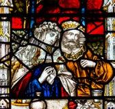Bad Abbey Perpendicular Gothic Window Close herauf ein Buntglas Stockfotos