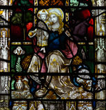 Bad Abbey Perpendicular Gothic Window Close herauf f-Buntglas Lizenzfreie Stockbilder
