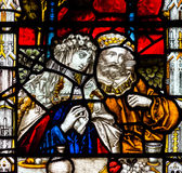 Bad Abbey Perpendicular Gothic Window Close upp en målat glass Arkivfoton