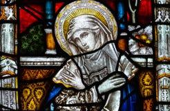 Bad Abbey Perpendicular Gothic Window Close upp G-målat glass Royaltyfria Foton