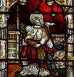 Bad Abbey Perpendicular Gothic Window Close upp K-målat glass Royaltyfria Bilder