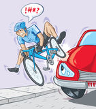 Bad accident. Cyclist getting hit by a car Royalty Free Stock Images