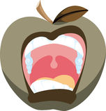 Bad Apple Illustration. Cartoon icon of a screaming apple in a bad mood Royalty Free Stock Photo
