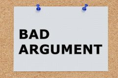 Bad Argument concept. 3D illustration of BAD ARGUMENT on cork board Royalty Free Stock Photography