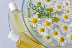 Bad - aromatherapy - växt- läka lotion - kamomill Arkivfoton