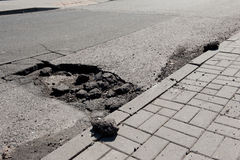 Bad asphalt and hole Royalty Free Stock Photo