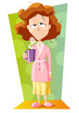 Bad awakening with  flou or hangover. Ill woman  drinking a cup of coffee Royalty Free Stock Photo