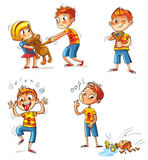 Bad behavior. Funny cartoon character. Bad behavior. The boy wants to take the girl`s toy. Boy broke a vase. Bully with a slingshot shooting. Boy grimace and Royalty Free Stock Photo