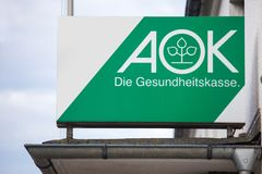 Bad berleburg, North Rhine-Westphalia/germany - 16 10 18: aok german health insurance sign on an building in bad berleburg germany. Bad berleburg, North Rhine stock photo