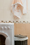 Bad, binnenlandse wasmachine, Stock Foto