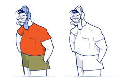 Bad boy. Bad cartoon boy smile in vector stock illustration