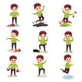 Bad boy with crazy hair having fun, playing games and making mess royalty free illustration