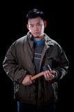 Bad boy guy holding hammer Royalty Free Stock Photography