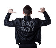 Bad boy portait striptease man in black jacket. Back portrait of bad boy striptease man in black jacket. Isolated on white stock images