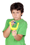 Bad boy with a slingshot Royalty Free Stock Photography