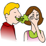 Bad Breath. An image of a man with bad breath talking to a woman Royalty Free Stock Photography