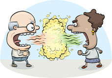 Bad Breath Fight. A cartoon man and woman attack one another with their bad breath Stock Image
