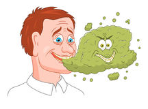 Bad breath. Man with bad breath isolated on white background Royalty Free Stock Photos