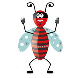 Bad bug. Cartoon red beetle thug in a mask Stock Images