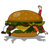 Bad burger eating people Royalty Free Stock Images